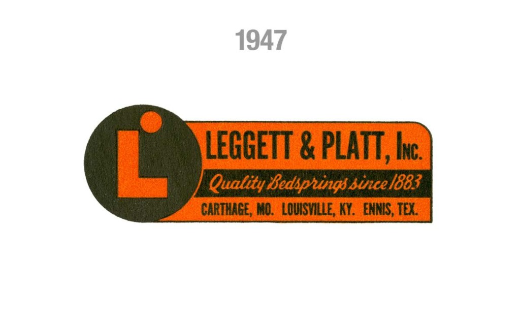 "The logo was simplified in print advertisements but the primary elements remained: a circular tag, block ""L"", and the smaller ""hole"" at the top of the logo."