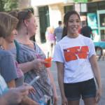 Sarah Ko mingles with a few visitors.