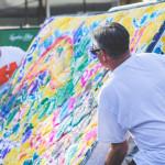 Robert McKinzie and John Walsh flip the mattress for a fresh canvas.