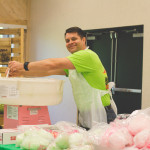No circus is complete without cotton candy! Josh Horton (IT) tries his hand at making some.