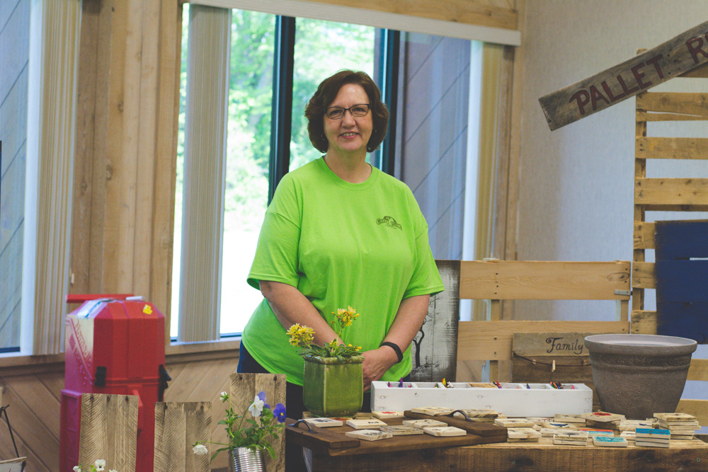 Susan Chapman (Creative Services) recycles pallets by turning them into beautiful pieces of art!