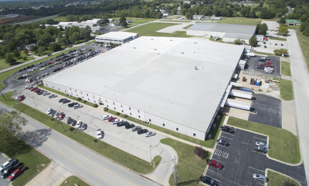 An aerial shot of the expansive Machine Products facility in Carthage, Missouri.