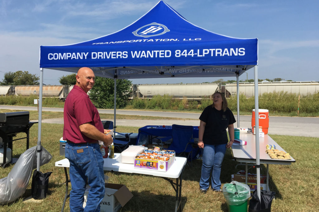 Jim Allen, one of L&P's drivers, with dispatcher Josie Pennington during the Driver Appreciation Cookout.