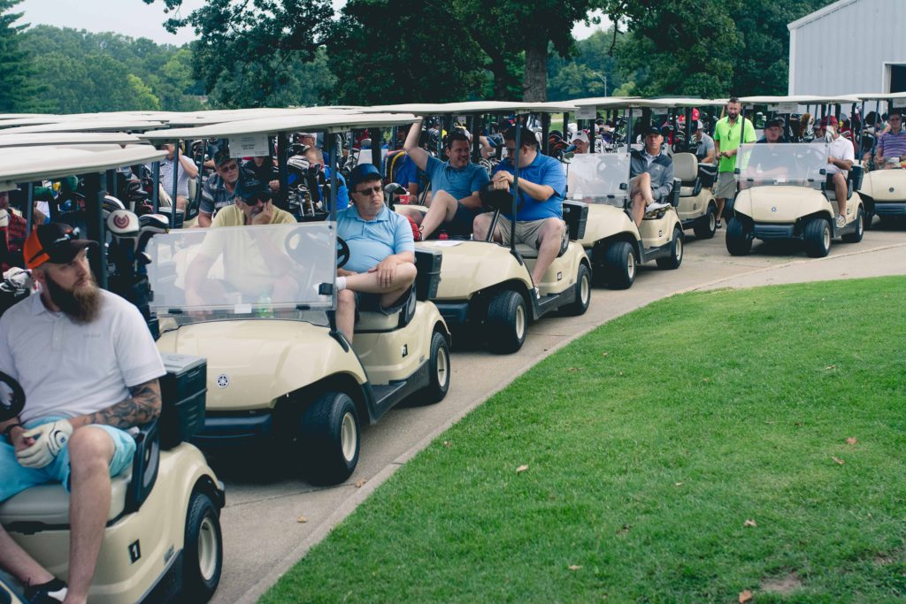 Golfers are lined up and ready to go!