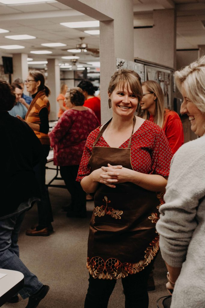 Emily Larson greeted the hungry guests.